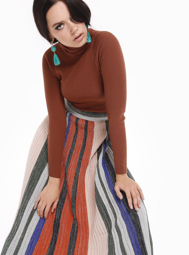 STORE WF Knitted Brocade Maxi Skirt Multicolours Stripes Modest Loose Fitting Long Skirt with Pleats