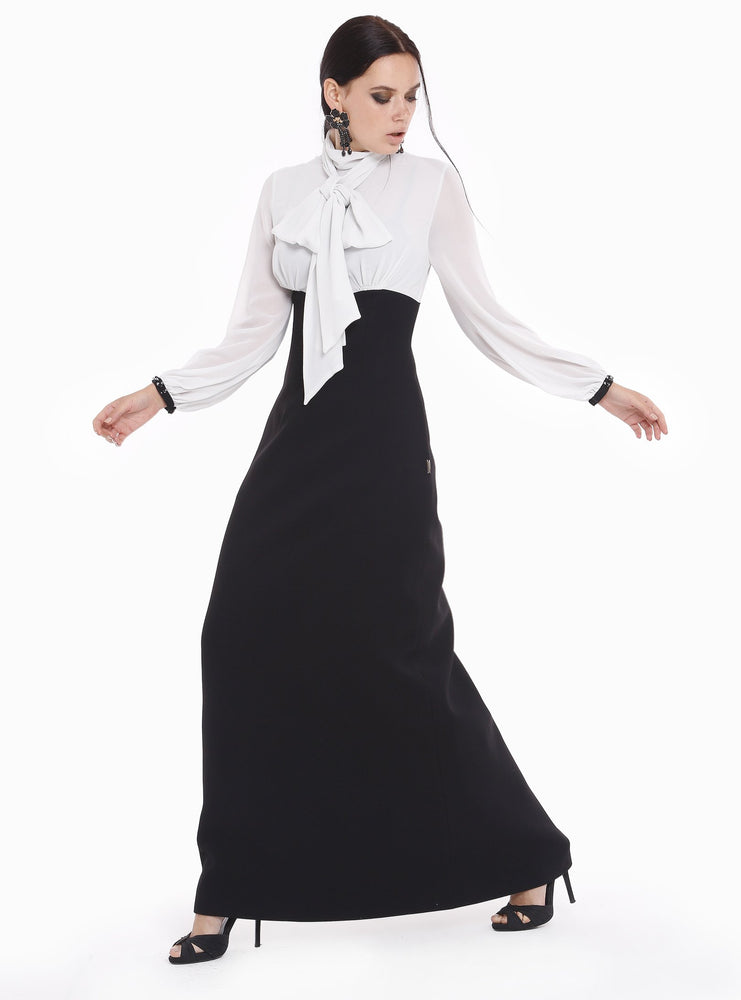 09e051e141c STORE WF Black and White Tie Neck Maxi Dress Modest Loose Fitting Long Dress  with Sleeves