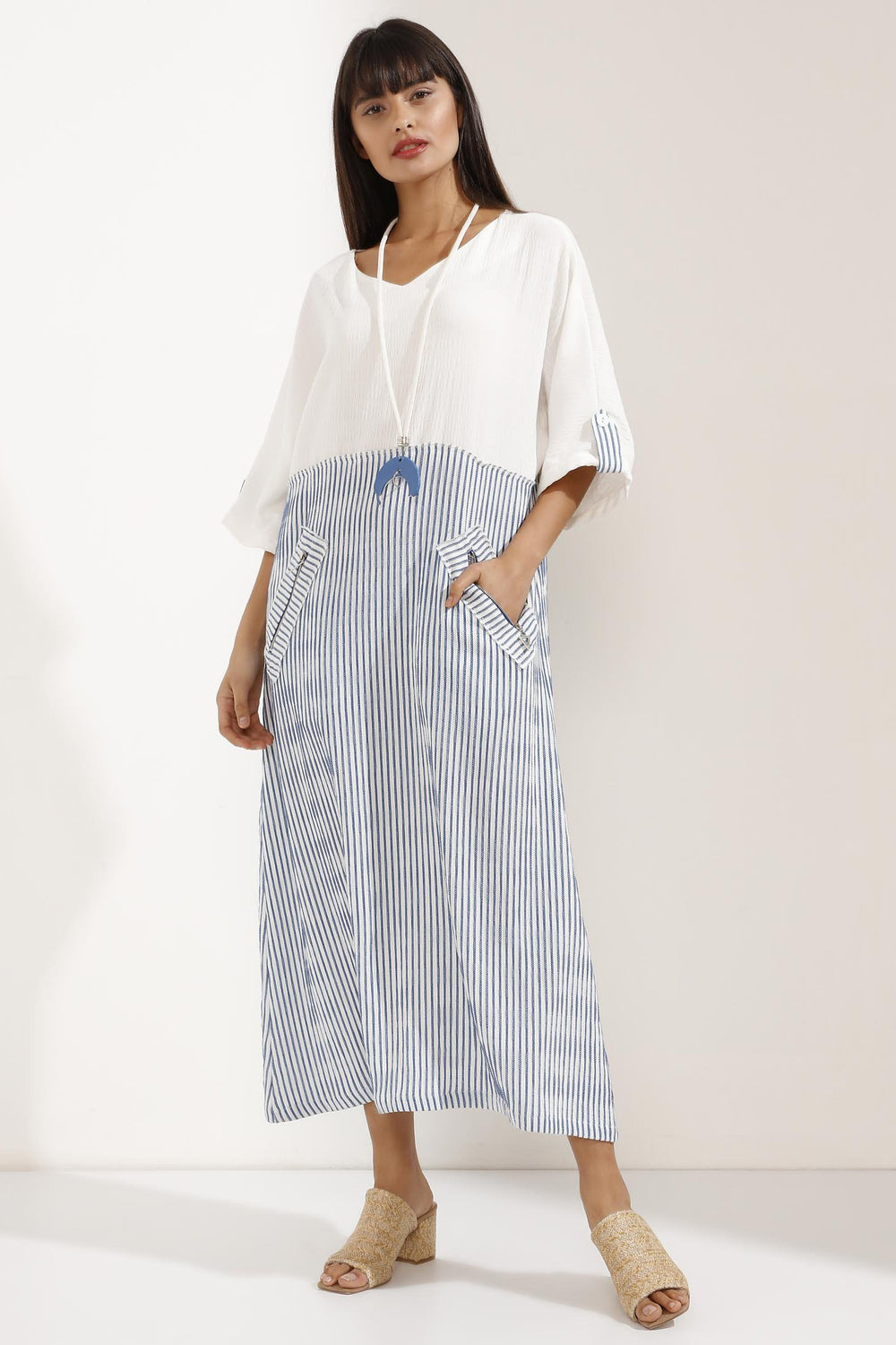 Store WF Striped Linen Blue and White V-Neck Maxi Dress with Necklace Modest Loose Fitting Dress with Long Sleeves, Necklace and Front Pockets in 100% linen