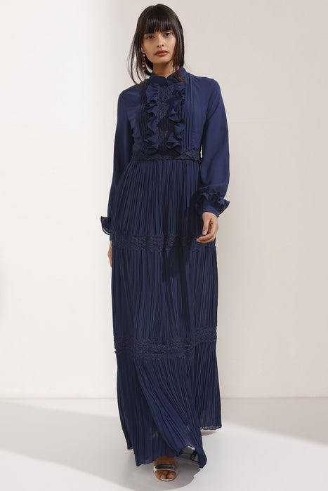 Store WF Stylish Navy Chiffon Maxi Dress with Cuff Details Modest Long Sleeves Loose Dress with Ruffles and Pleats in 100% Polyester