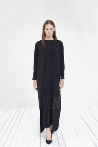 STORE WF Two Piece Dress with Sequin Gridwork Modest Two Piece Maxi Dress with Sequin Details