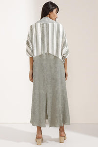 Store WF Tie Front Mix Stripe Linen Kimono in Soft Linen Modest Long and Loose Kimono with Sleeves