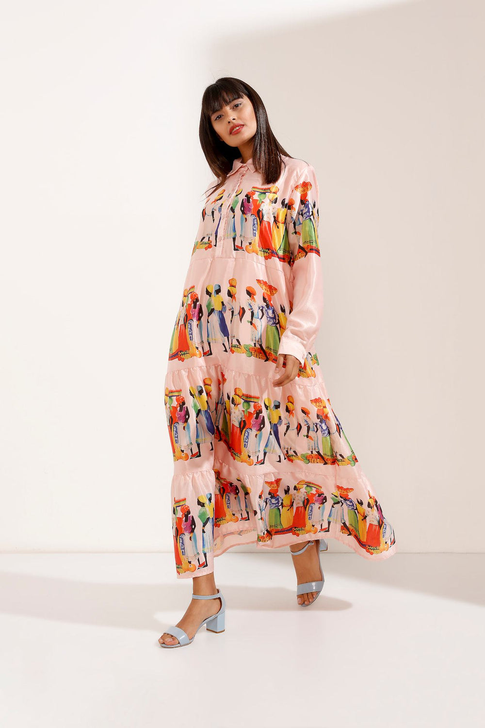 Store WF Print Buttoned Maxi Shirt Dress – Light Pink Modest Loose Fitting Dress with Long Sleeves and Prints in Polyester