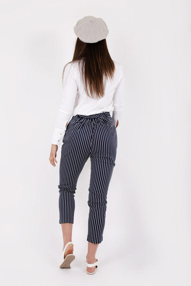 Unique 21 Modest High Waist Pants with Vertical Stripes and Pockets in Cotton and Elastane