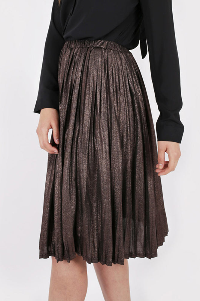 Unique 21 Modest Midi Knee Length Pleated Skirt with Metallic in Polyester and Elastane
