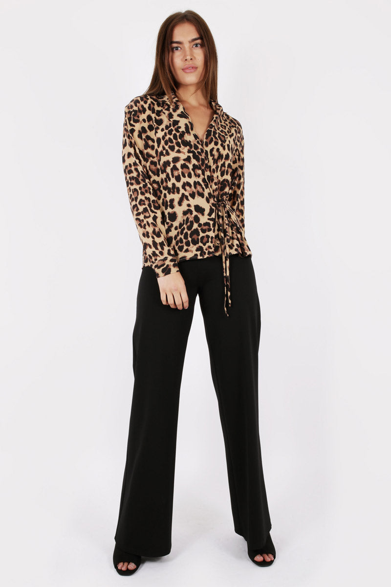UNIQUE 21 Modest Wrapover Top with Tie Front in Leopard Prints