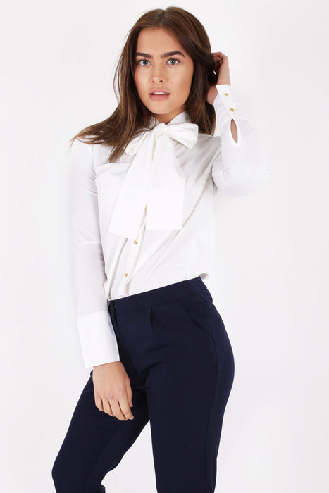 Unique 21 Modest Long Sleeve Top with Bow on Neck in Satin in White