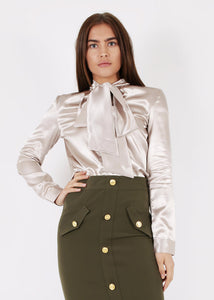 Unique 21 Modest Long Sleeve Top with Bow on Neck in Satin in Champagne Beige Colour
