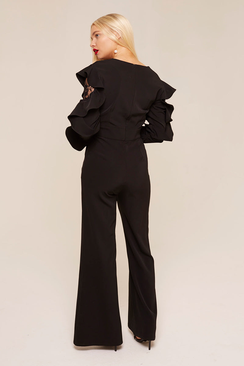 Unique21 Ruffle Sleeve Jumpsuit Modest Long Sleeves Black Jumpsuit with Frills and Lace on Sleeves