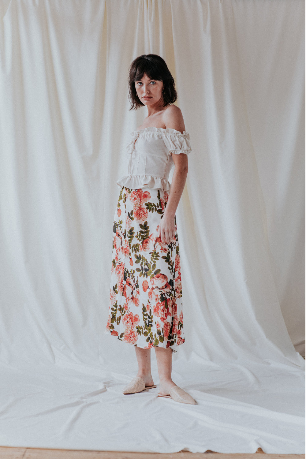 UNIQUE 21 Floral Midi Slip Skirt With Side Slits Modest Below The Knee Skirt Flowy Hem with Pink Flowers Design
