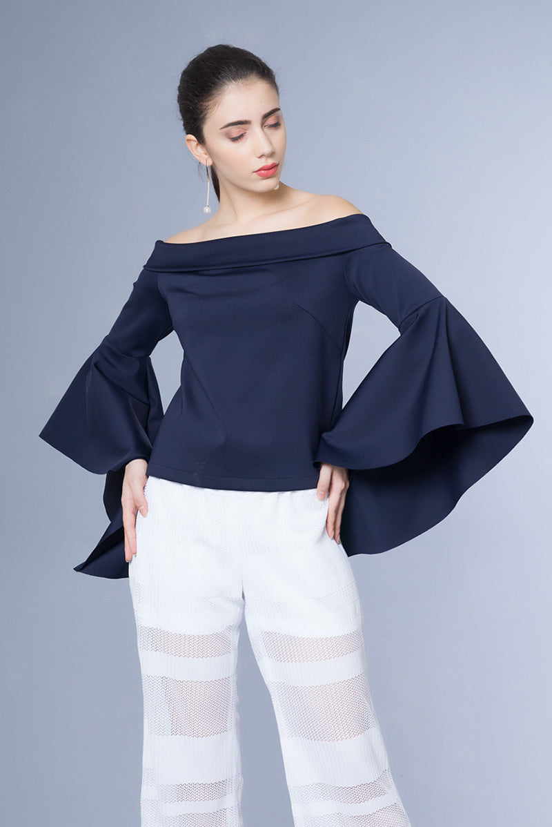 Domani Modest Long Sleeves with Frills Navy Top Off Shoulder in Neoprene Fabric