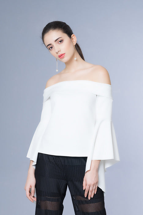 Domani Modest Long Sleeves with Frills White Top Off Shoulder in Neoprene Fabric