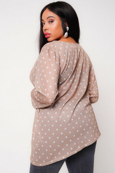 UNIQUE21 Plus Size Polka Dot Wrap Blouse Modest Long-Sleeved Ladies V-Neck Top With Loose Fit, Asymmetrical Hem