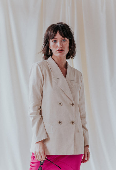 UNIQUE 21 Diana Linen Blazer Modest Long Sleeves Outerwear Lapel Collar Front Pockets and Buttons in Beige