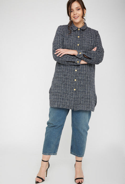 UNIQUE21 Plus Size Tweed Oversized Shirt Dress Modest Long-Sleeved Loose-Fitting Collared Dress in Checkered Black and Blue with Gold Buttons