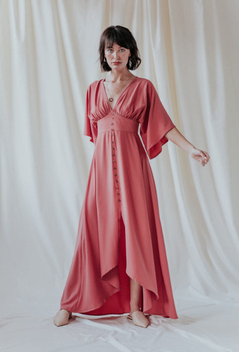UNIQUE 21 Angel Sleeve Maxi Dress in Dusty Rose Modest Ankle-Length Gown with Flowy Hemline Front Buttons Fitted Waist