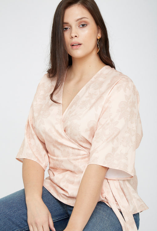 UNIQUE21 Plus Size Jacquard Wrap Top in Pink Modest Loose-Fitting V-Neck Floral Women's Blouse with Mid-Length Sleeves