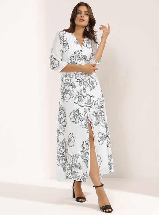 STORE WF White Floral Print Cotton Maxi Dress Modest Long Dress With Flowers, Front Buttons, and Mid-Length Sleeves