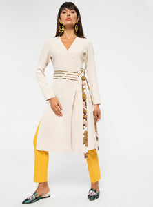 STORE WF Wrap Tunic with Floral Tie Modest Long Top with Sleeves and Overlap Front Tie in Beige
