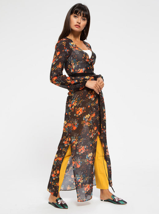 STORE WF Wrapped Floral Kimono with Tie Belt Modest Long Black Kimono with Floral Print and Sash