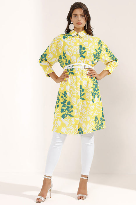 Store WF Yellow Belted Stone Collar Details Midi Dress Modest Yellow Knee Length Shirt Dress with Green Floral Print and Belt