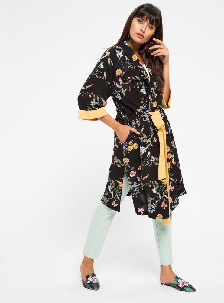 STORE WF Yellow Contrast Tie Front Kimono Modest Long Black Kimono with Sleeves, Floral Prints and Yellow Tie Front