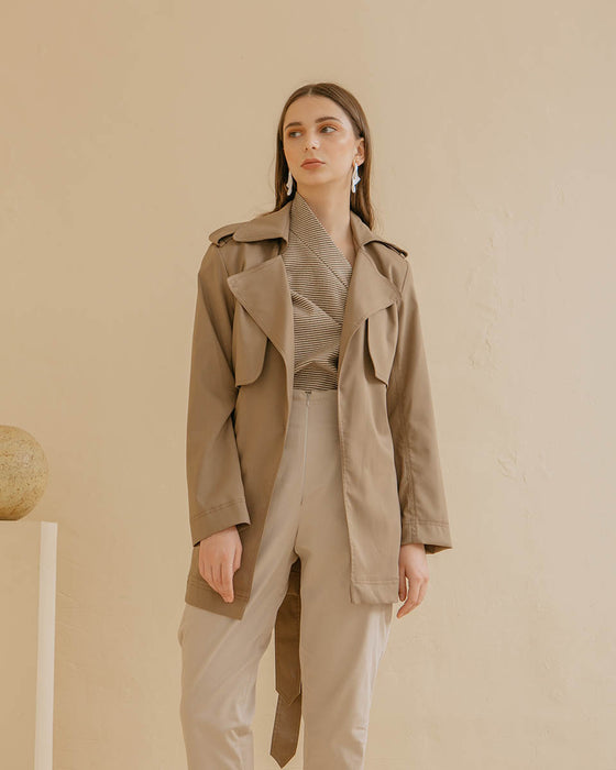 Billie Trench Coat in Taupe