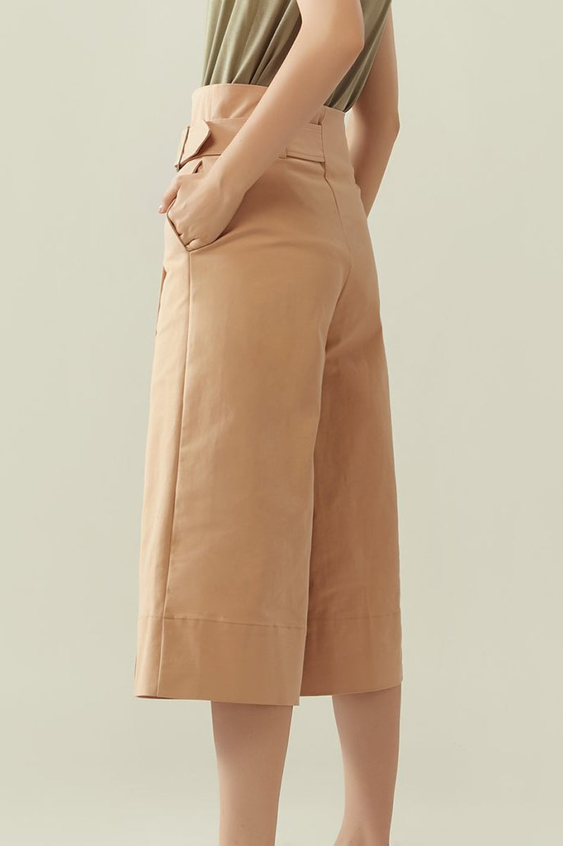 r y e Asymmetrical Wrap Buckled Pants in Pale Orange Modest Loose Skirt-Like Knee-Length Trousers With Pockets, Buckle