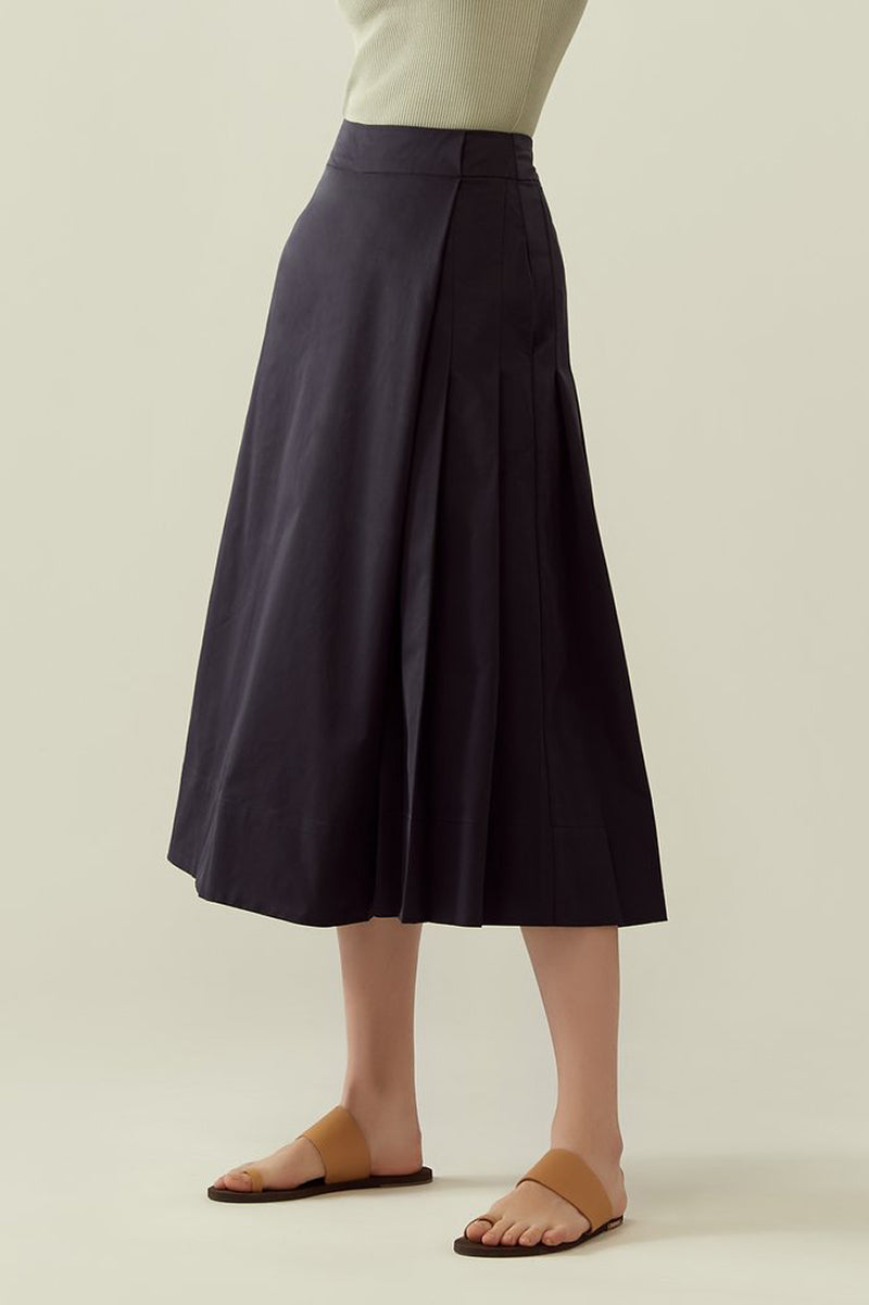 r y e Side Pleated Overlap Culottes in Midnight Blue Modest Below The Knee Skirt Style Pants With Wide Loose Leg and Pleats in Rayon