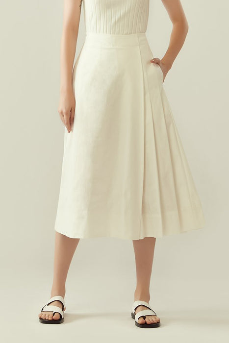 r y e Side Pleated Overlap Culottes in White Modest Wide Leg Below The Knee Trousers Asymmetrical Pleats With Pocket Gartered Back