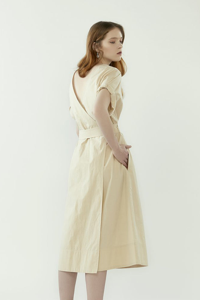 r y e Back Wrap Dress with Belt in Oatmeal Modest Below The Knee Loose Fitted Dress With Pockets, Matching Sash in 100% Cotton