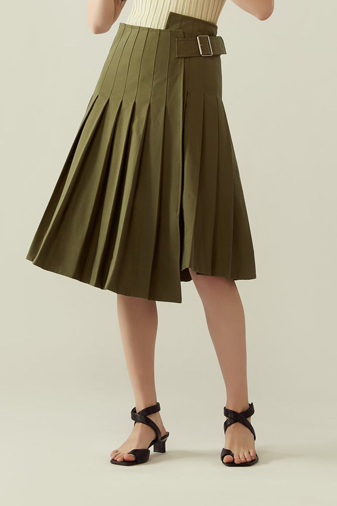 r y e Pleated Asymmetrical Buckled Skirt in Khaki Green Modest Wrap Around Knee-Length Midi Skirt