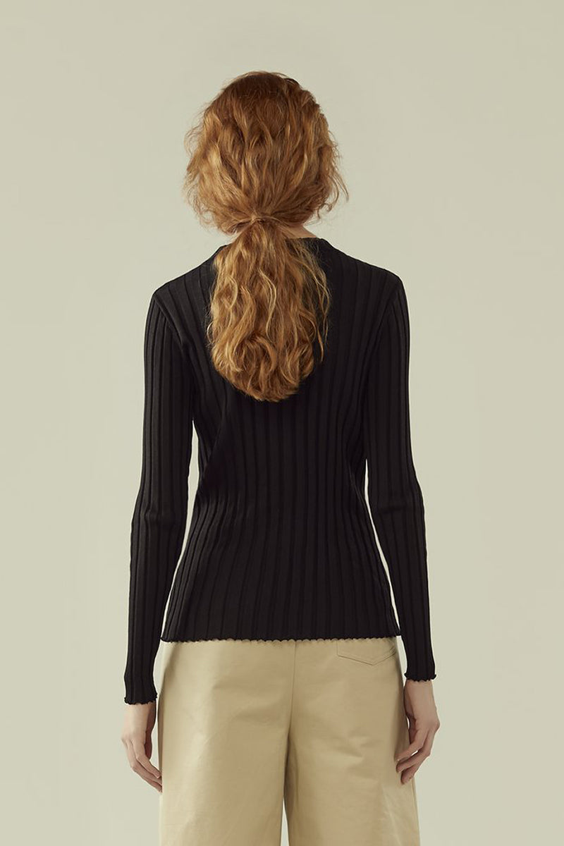 r y e Round Neck Rib Knit Long Sleeve Top in Black Modest Long Blouse Conservative Sleeves Ribbed Fabric in Rayon and Nylon
