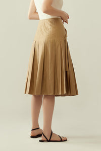 r y e Pleated Wrap Skirt with Flap in Khaki Beige Modest Knee-Length Midi Skirt