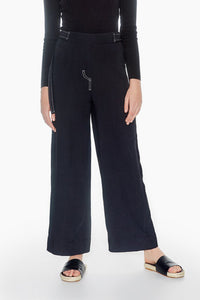 r y e Contrast Stitch Trousers Modest High Waist Culottes Black Loose Pants