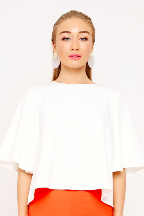 UNIQUE21 White Butterfly Sleeve Crop Top Modest Mid Sleeve Tops