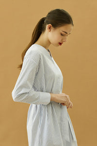 YUPPE Color Stripe Dress in White Modest Loose Fitting Midi Dress with Long Sleeves, Buttons and Sash