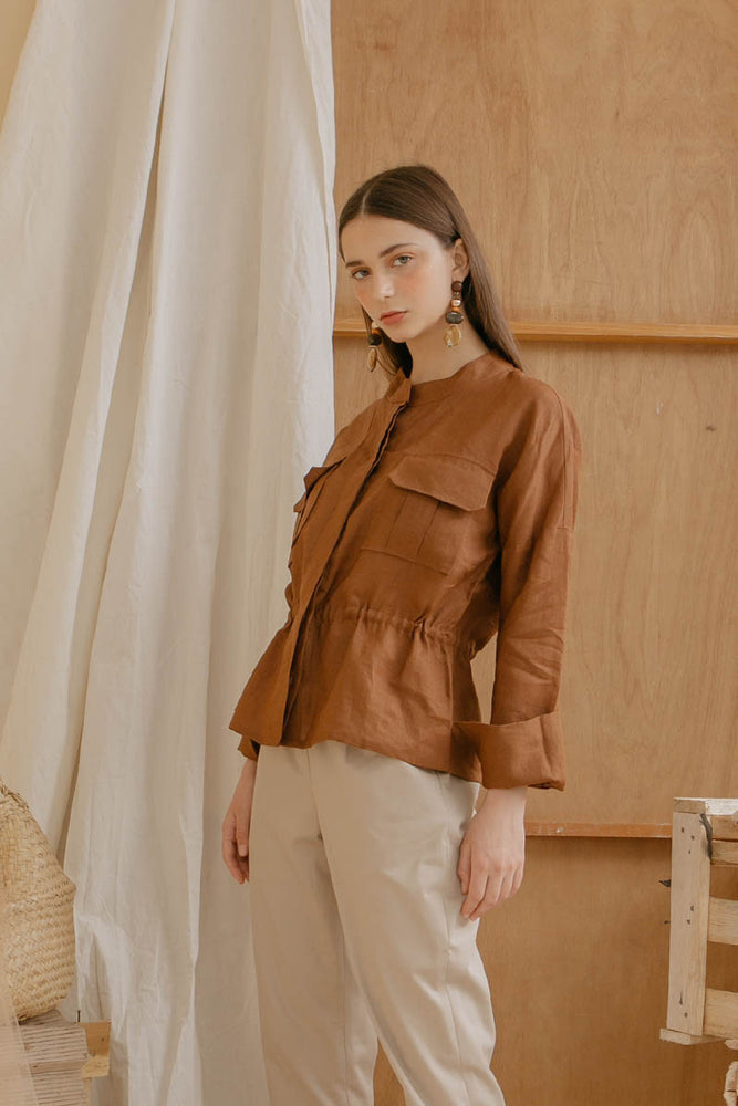 Le Bijou Easton Outer Top in Brown Modest Long Blouse with Tied Waist, Loose Sleeves, Chinese Collar in Linen