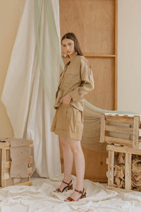 Le Bijou Easton Outer Top in Camel Modest Loose Blouse with Long Sleeves, Gathered Waist, Chest Pockets in Linen