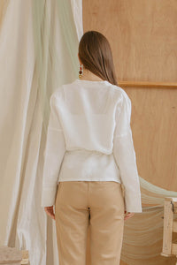 Le Bijou Easton Outer Top in White Modest Long Sleeve Women's Blouse With Loose Fit, Chest Pockets, Gathered Waist in Linen