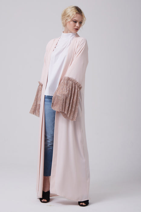 FERADJE open-front abaya with bell sleeves on Silver and Pink its made from crepe and crimped silvery fabric at the cuffs front view