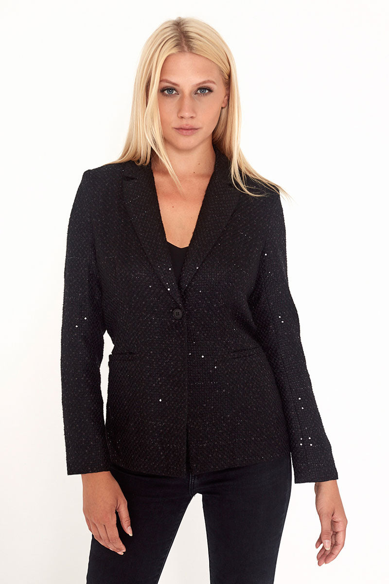 Unique21 Sequin Tweed Blazer in Black Modest Black Formal Jacket with Front Pockets