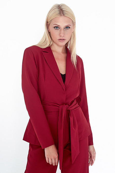 Unique21 Wrap Blazer With Self Tie Belt Modest Formal Red Blazer with Front Pockets and Matching Sash