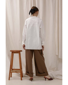 Le Bijou Falcon Shirt in White Modest Long-Sleeve Loose Blouse With Belted Cuffs in Cotton