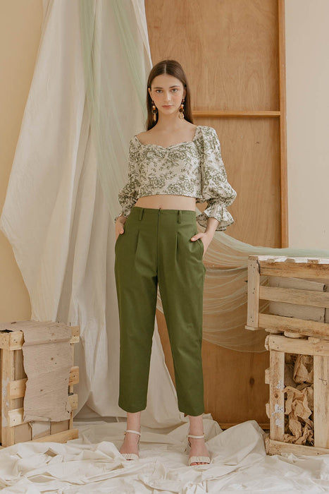 Le Bijou Gwen Crop Top in Botanical Green Modest Long Sleeve Floral Print Blouse with Puffy Sleeves