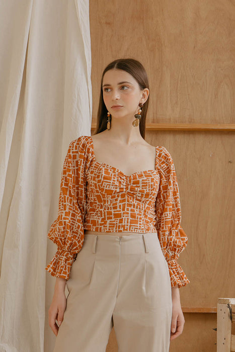 Le Bijou Gwen Crop Top in Giraffe Orange Modest Loose-Fitting Long Sleeves Gathered Cuffs with Ruffles Ribboned Straps in Printed Cotton