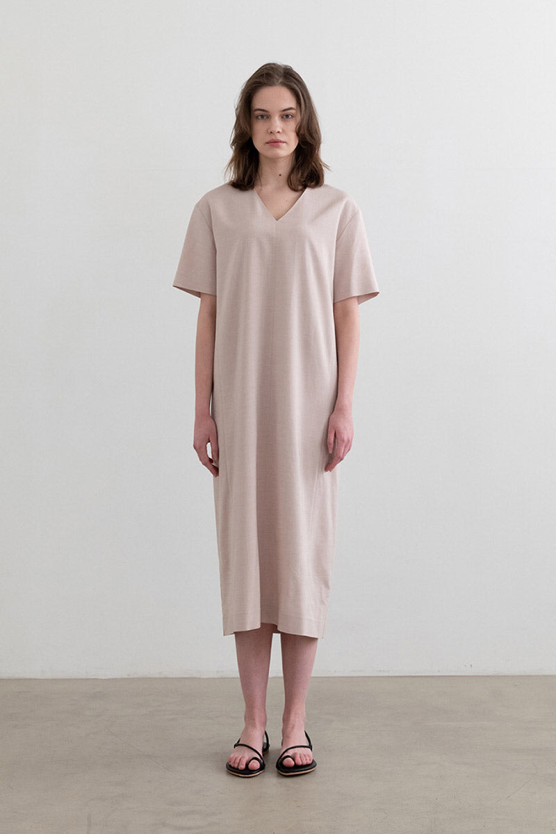 Daily Texture V-Neck Dress Beige