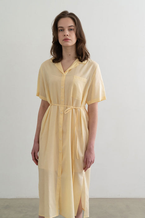 Sheer String Shirt Dress Yellow