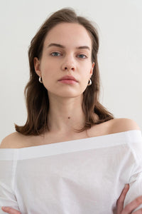 Simple Wrinkle Off Shoulder Top White