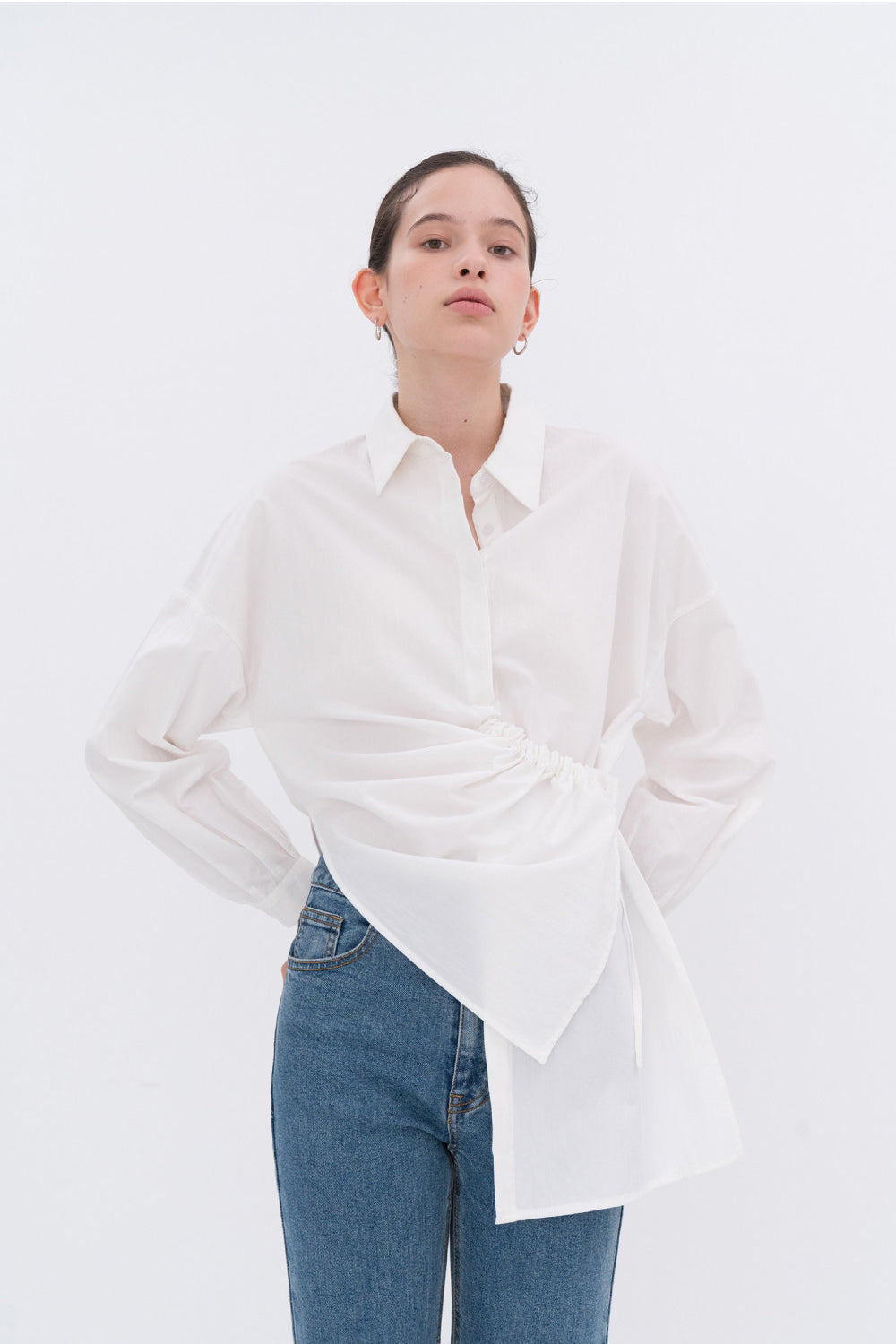 NOTA String Shirring Unbalance Shirt White Modest Asymmetric Front Drape Ladies Loose Fit Top With Long Sleeves 100% Cotton